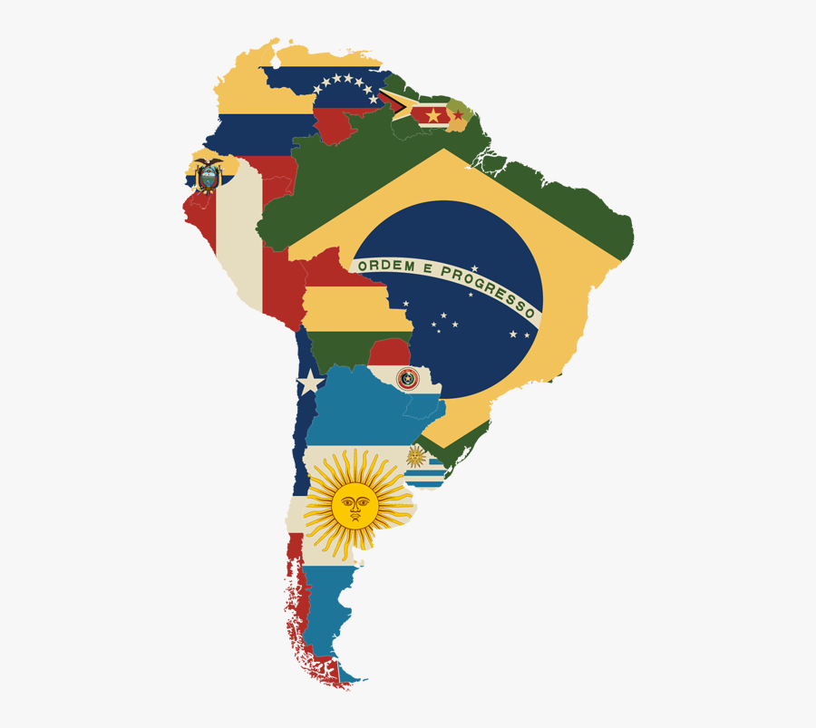 South America Map With Flags - South America Map Flag, Transparent Clipart
