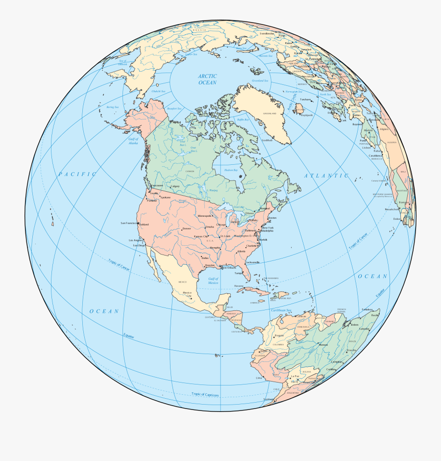 Clipart World Globe North America - Earth Map North America, Transparent Clipart
