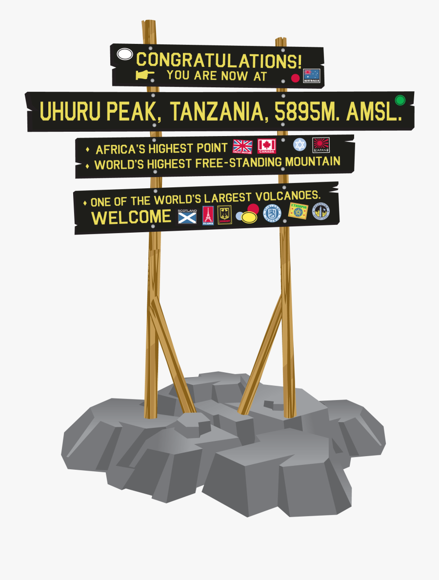 Kilimanjaro Mountain Clipart Sign, Transparent Clipart