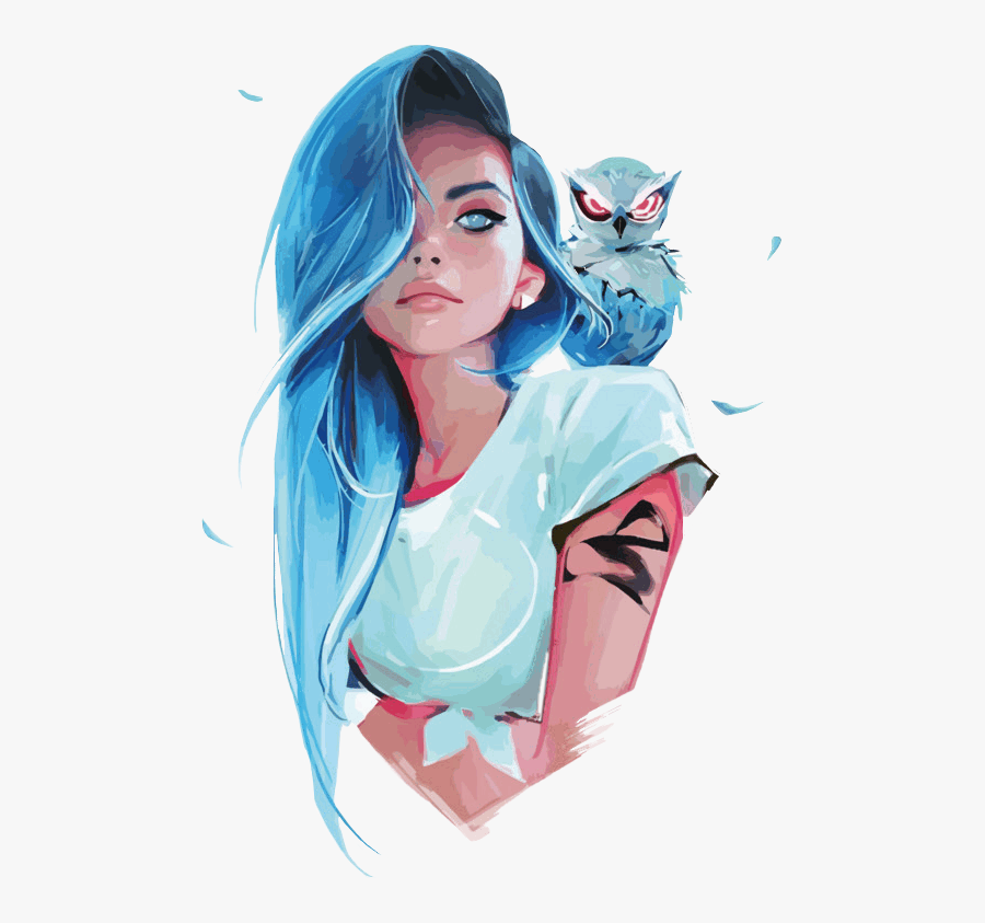#girl #cartoon #drawing #fantasy #owl #cgi #aesthetic - Blue Hair Girl Drawing, Transparent Clipart