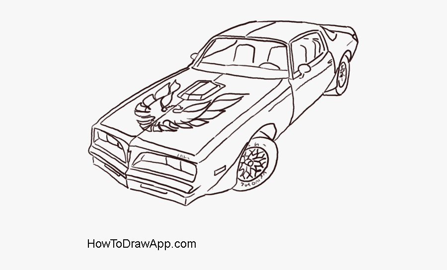 How To Draw A Pontiac Firebird Trans Am In Easy Steps - Trans Am Car Drawing, Transparent Clipart