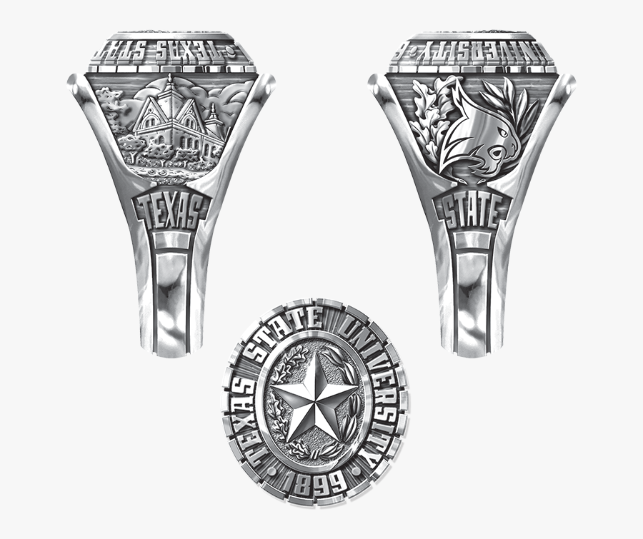 Texas State University Class Ring Silver, Transparent Clipart