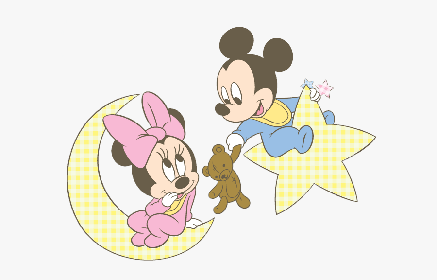 Baby Mickey & Minnie Moon - Coloring Baby Minnie Mouse, Transparent Clipart