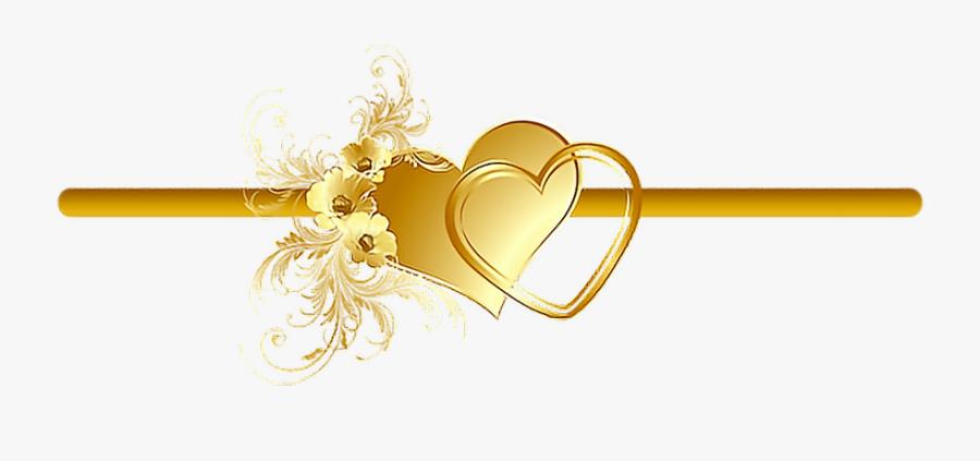 #divider #frame #border #heart #gold #flowers #vines - Gold Flower Decorative Frames Png, Transparent Clipart