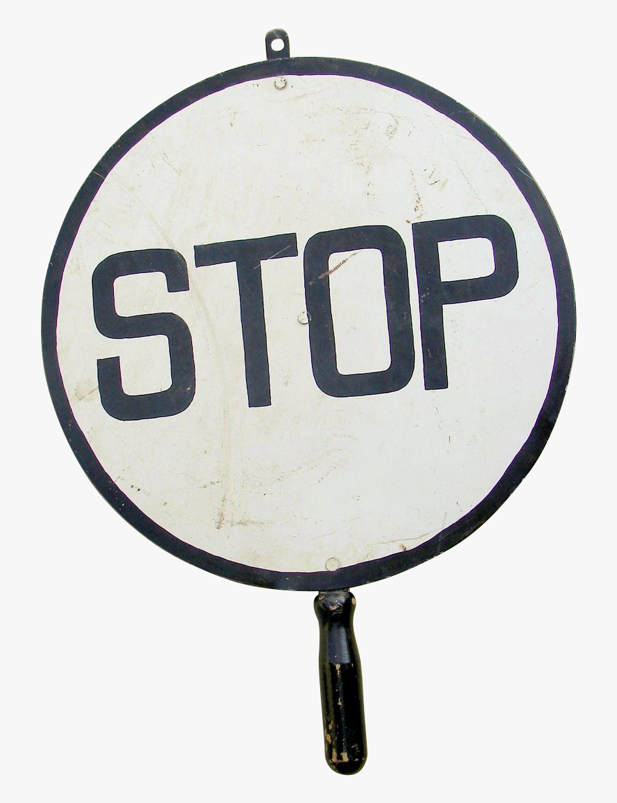 Vintage Railroad Crossing Flagman Stop Hand Held Traffic - Sign, Transparent Clipart