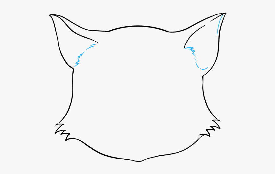 How To Draw Cat Face - Outline Cat Face Drawing, Transparent Clipart