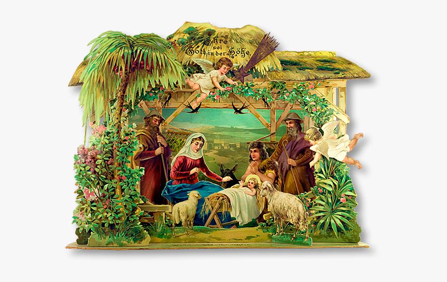 Vintage Christmas Nativity - Christmas Belen Pop Up, Transparent Clipart