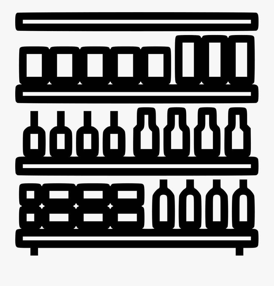 Transparent Bookshelf Clipart Black And White - Grocery ...