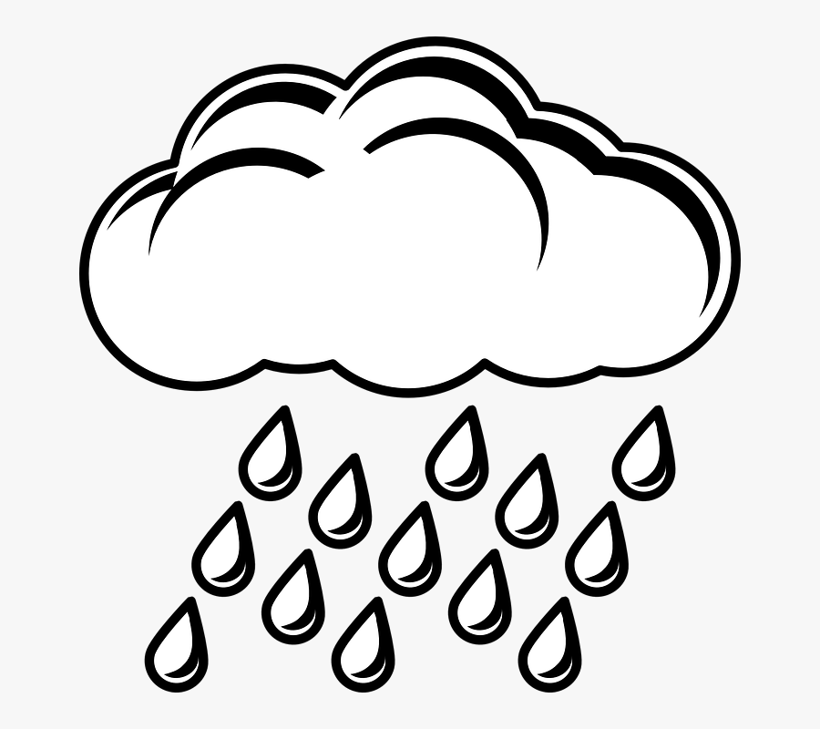 Rain Windy Clipart Rainy Day For Free And Use Images - Rainy Cloud Clipart Black And White, Transparent Clipart