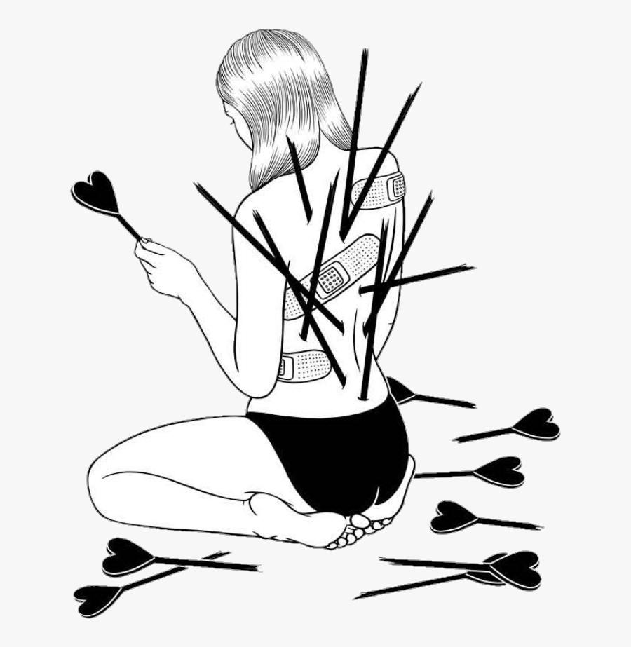 Drawn Depression Broken Heart - Broken Heart Drawing, Transparent Clipart