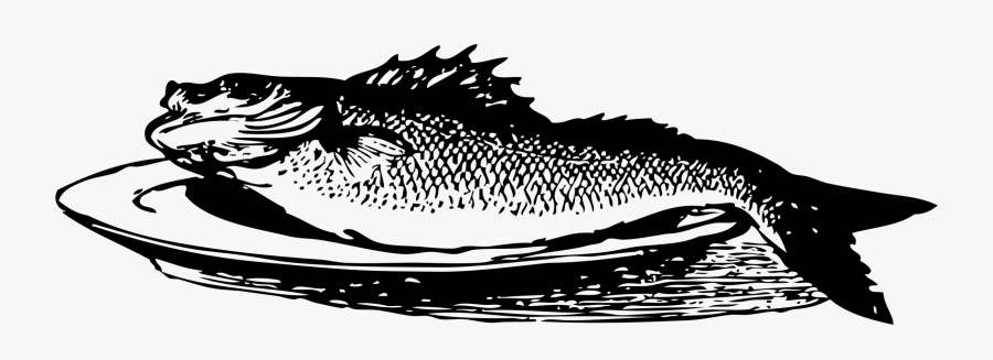 Art,monochrome Photography,carnivoran - Fried Fish Black And White, Transparent Clipart