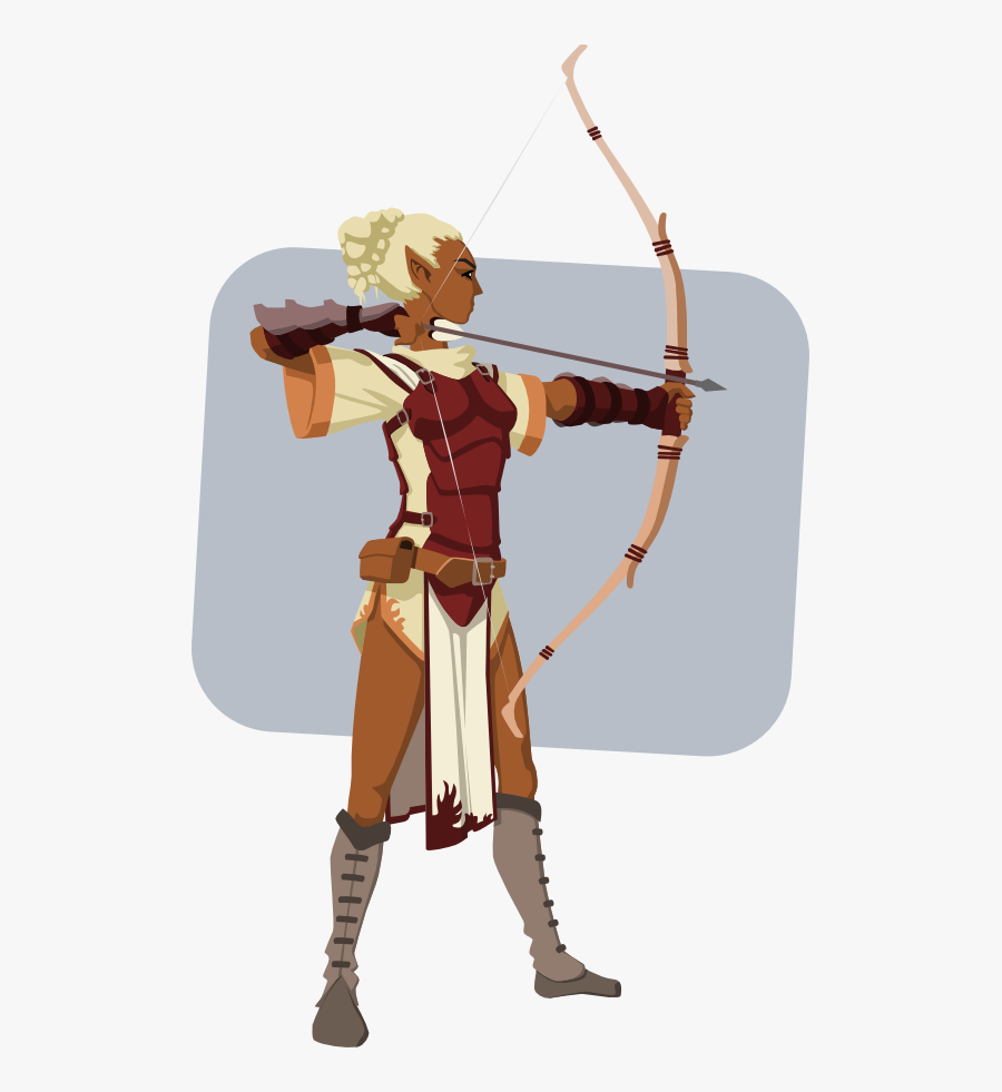 Bow And Arrow,recreation,cold Weapon - Dark Skin Elf Girl, Transparent Clipart