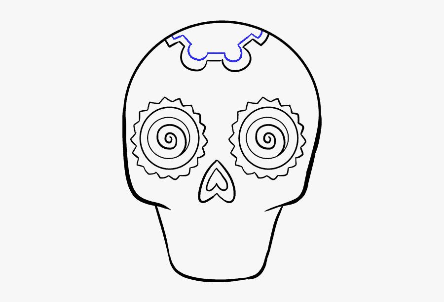 Clip Art Skeleton Nose - Drawing Sugar Skulls Easy, Transparent Clipart