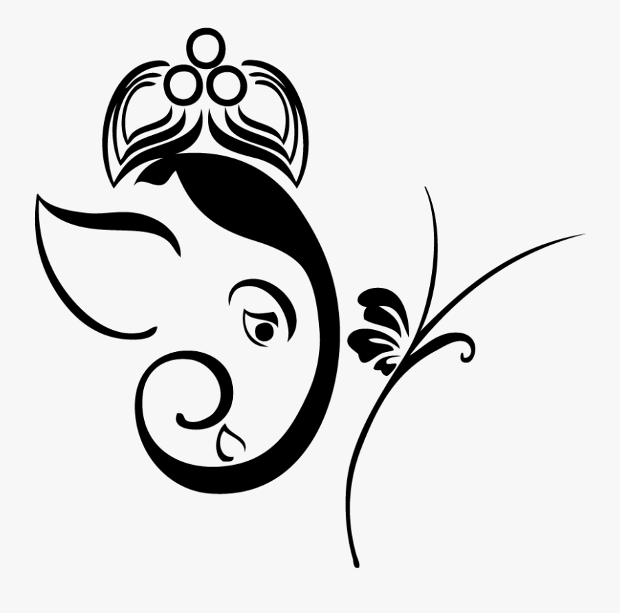 Collection Of Free Ganesh Drawing Wall Download On - Ganesh Ji Drawing Simple, Transparent Clipart