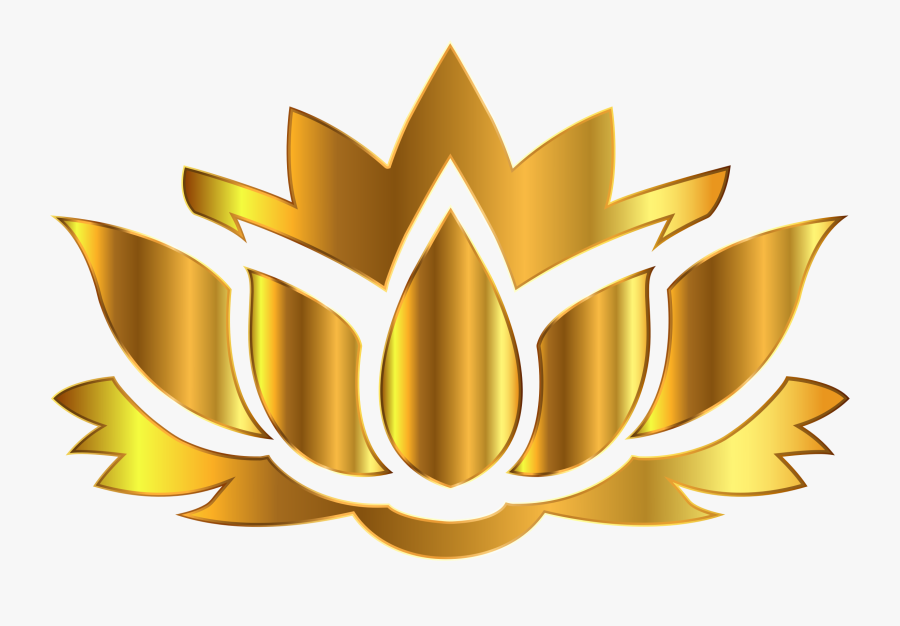 Gold Lotus Flower Silhouette No Background Graphic - Lotus Flower Silhouette Png, Transparent Clipart