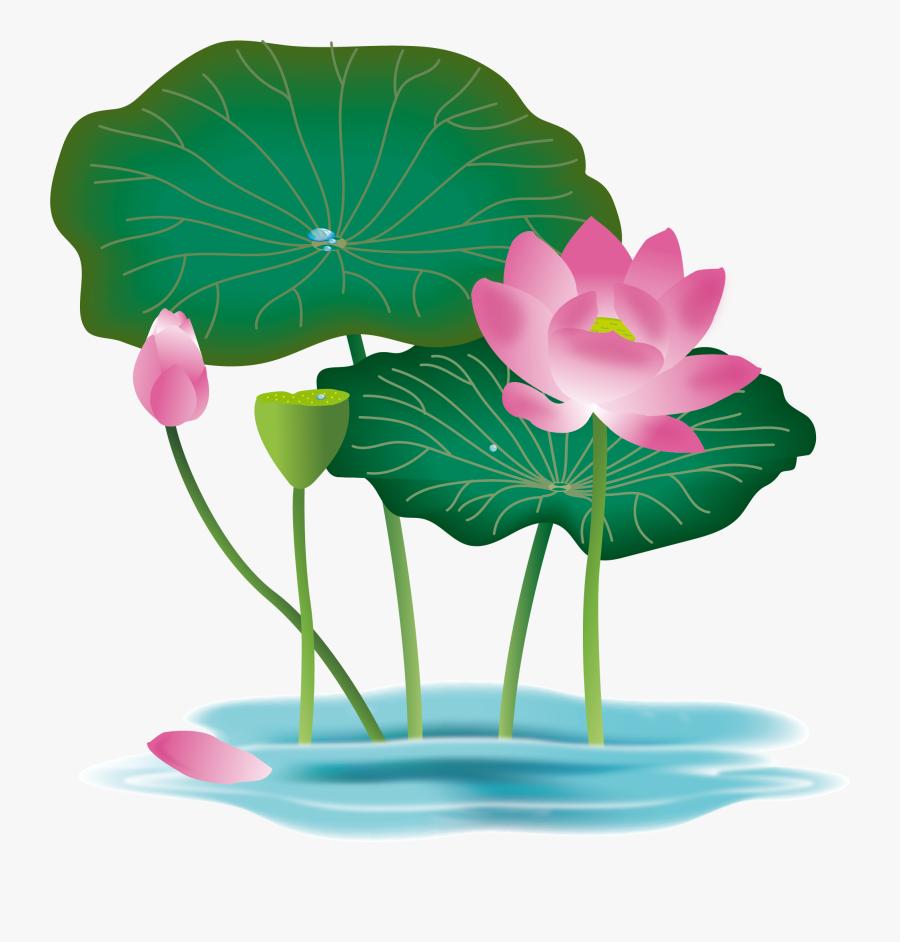Transparent Pink Lotus Flower Clipart - Lotus Flower With Leaf Png, Transparent Clipart
