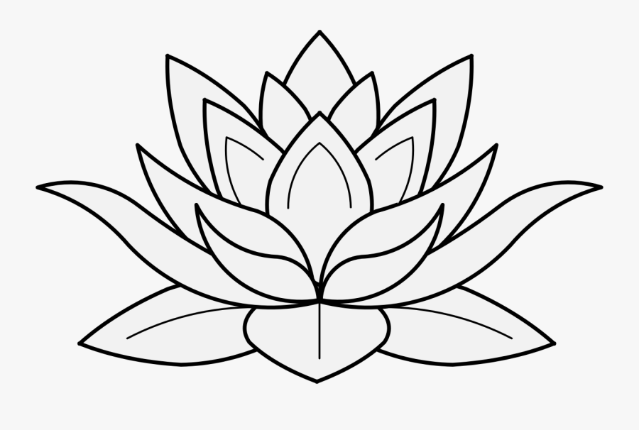 Intricate Drawing Lotus Flower Transparent Png Clipart - Lotus Flower Black And White, Transparent Clipart