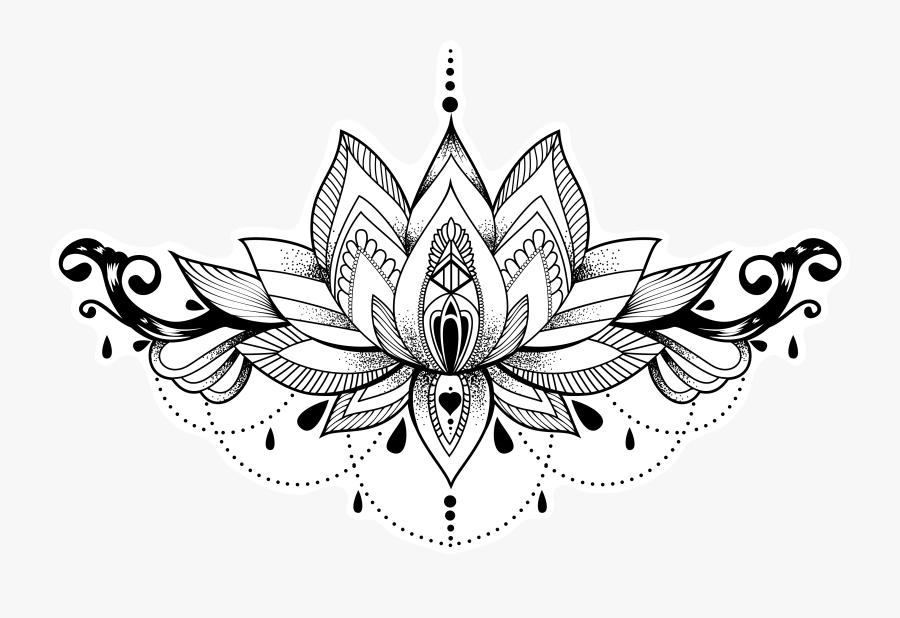 Lotus Chandelier - Transparent Lotus Flower Outline, Transparent Clipart