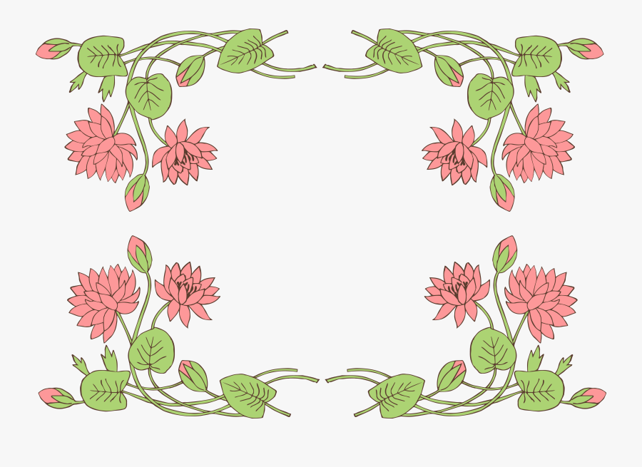 Lily Pad Lotus Flower Borderclip Art Image - Lotus Flower Frame Png, Transparent Clipart