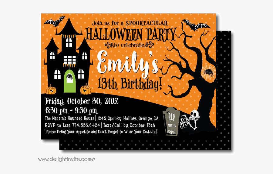 Halloween Birthday Party Invitations - Spooky Birthday Party Invitation, Transparent Clipart