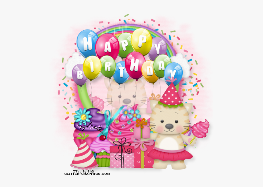 Glitter Clipart Birthday Party - Transparent Background Happy Birthday Balloons Png, Transparent Clipart