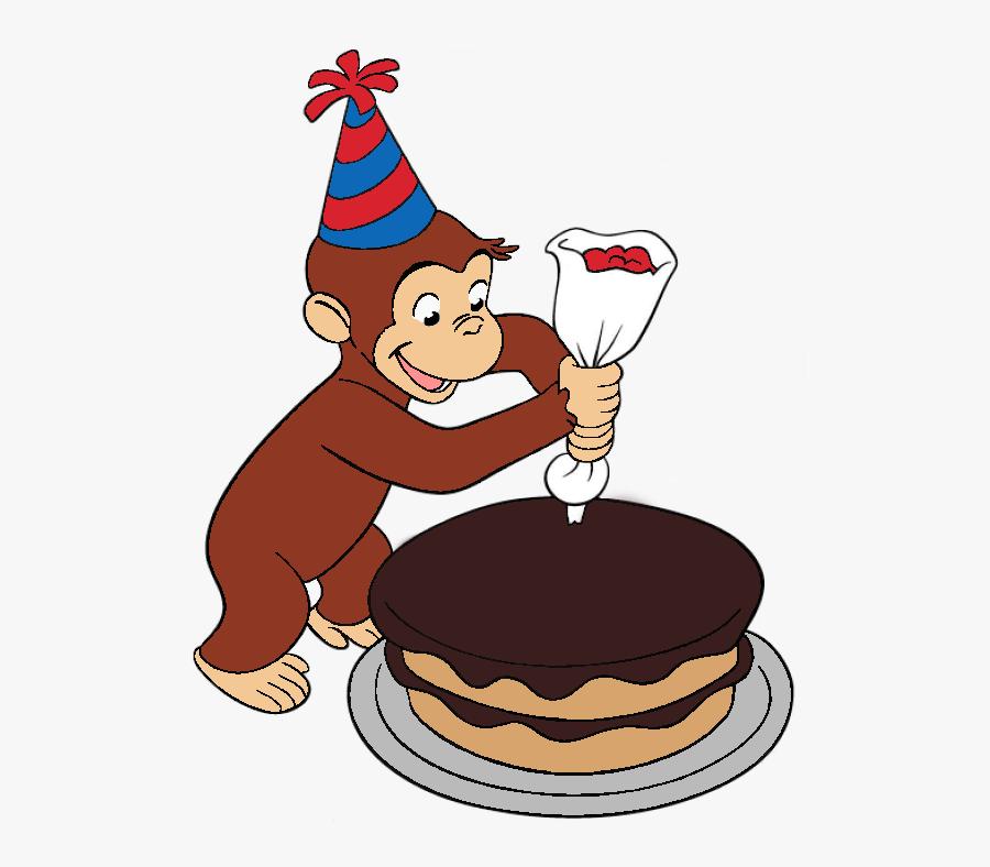 Curious George Decorating A Cake, Transparent Clipart