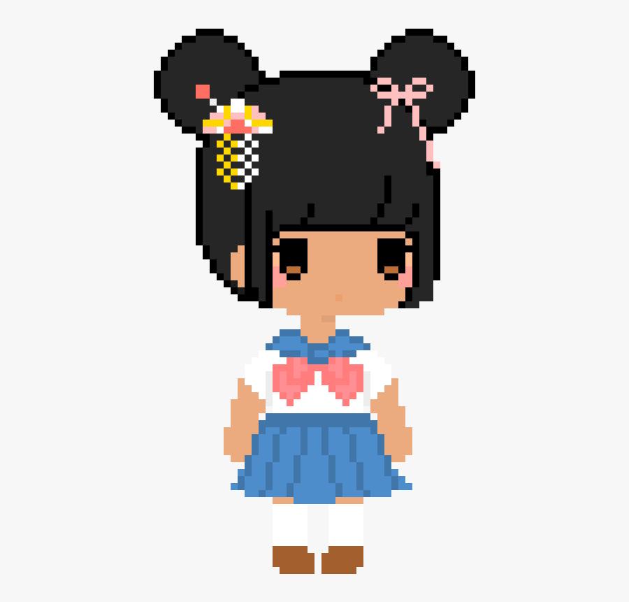 Japanese Girl - Cartoon - Japanese Girl Pixel Art, Transparent Clipart