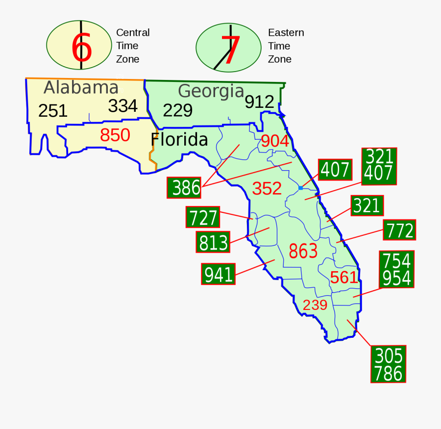 Florida Area Codes, Transparent Clipart