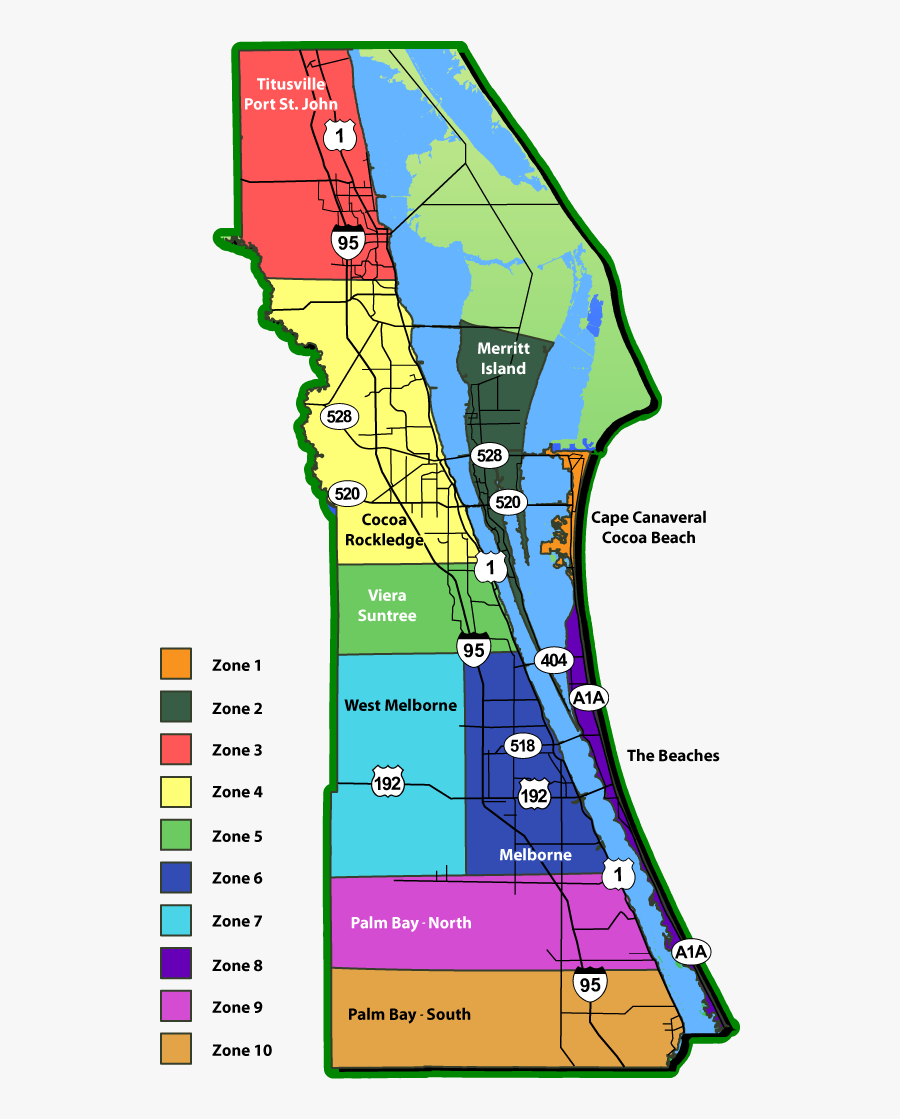 treasure coast zip code map Brevard County Florida Map Space Coast Zip Code Map Free