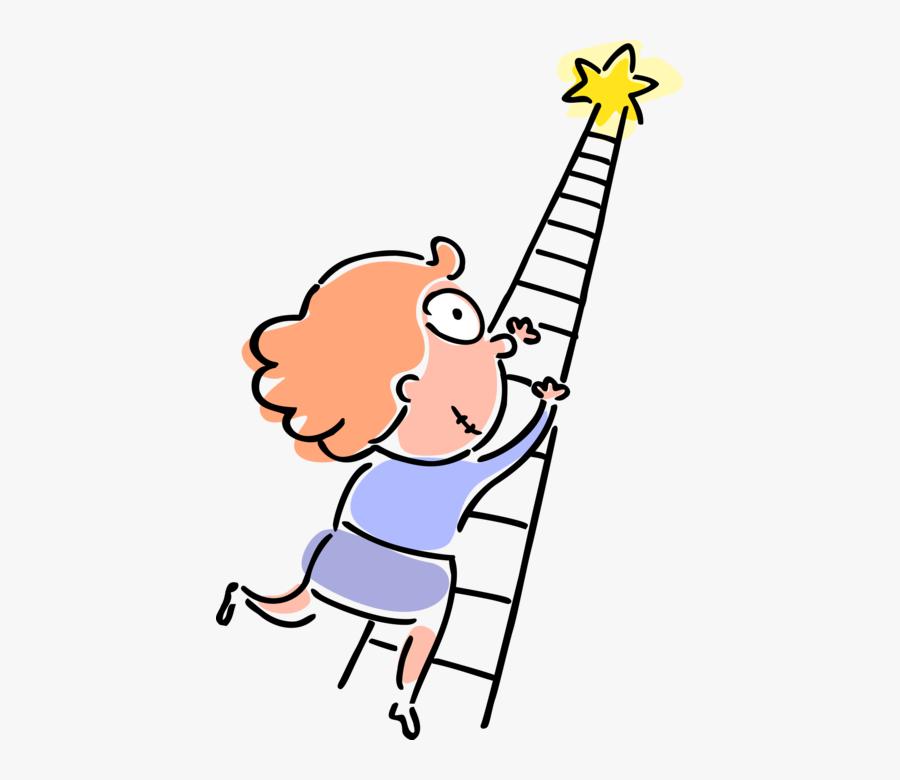 Vector Illustration Of Ambitious Businesswoman Climbs - Climbing A Ladder Clipart, Transparent Clipart