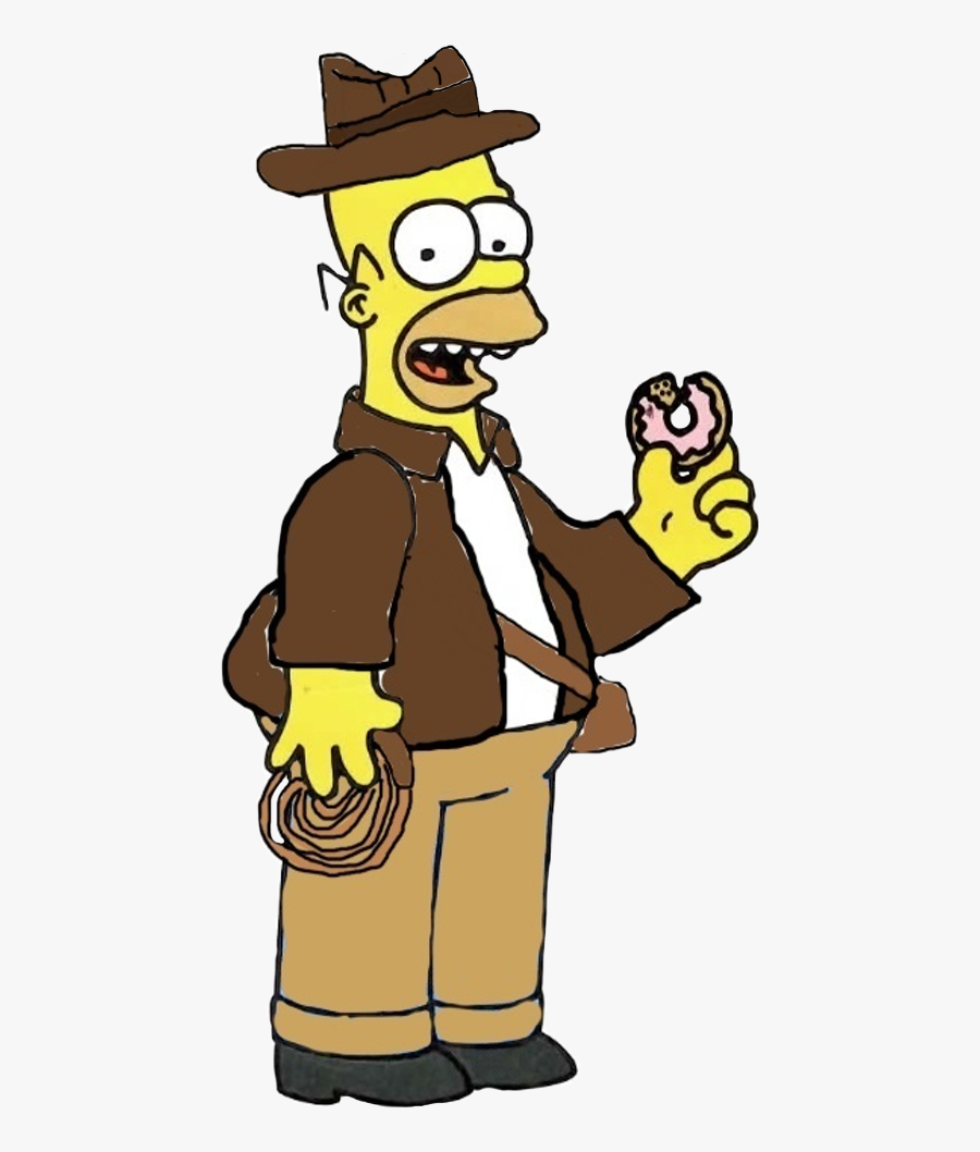 Indiana Homer - Simpsons Homer Eating A Donut, Transparent Clipart
