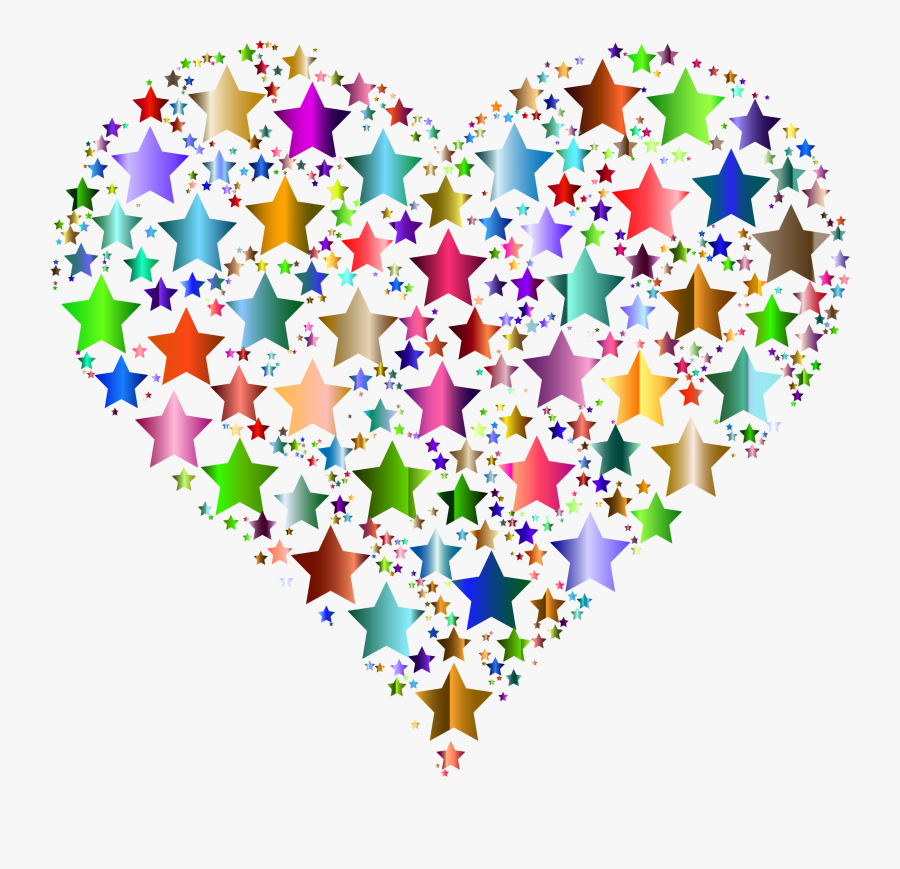 Free Hearts Stars Cliparts - Colorful Heart And Star, Transparent Clipart