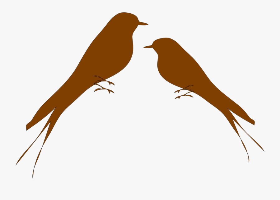 Martins, Swallows, Birds, Brown, Love, Romance - Love Birds Svg Free, Transparent Clipart