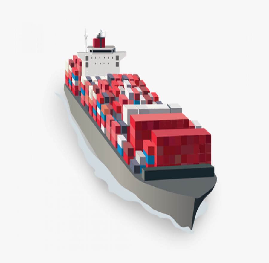 Sea Freight From London - Cargo Ship Vector Png, Transparent Clipart
