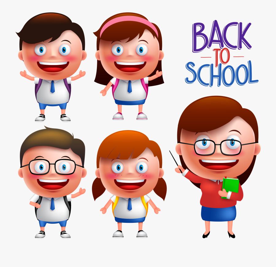 Drawing Of Students And Teachers In Cartoon, Transparent Clipart