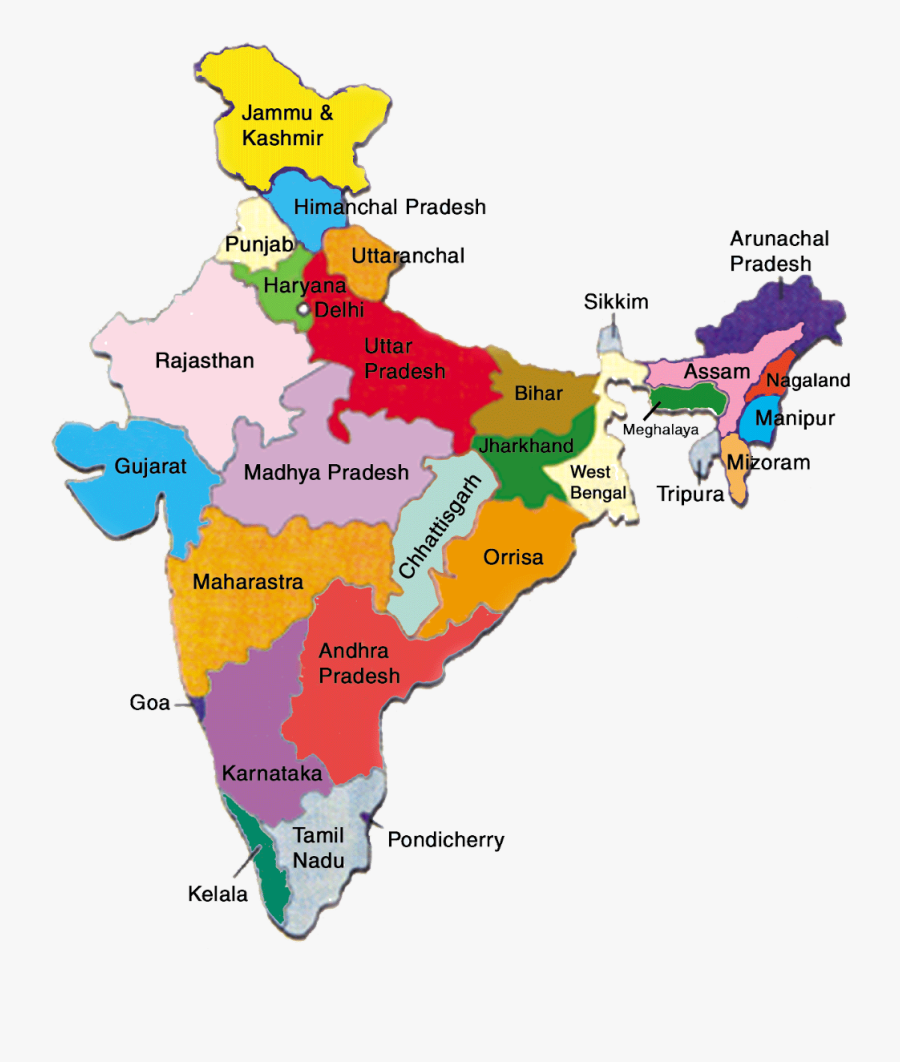 #india #indian #map - Map Of India With All States, Transparent Clipart