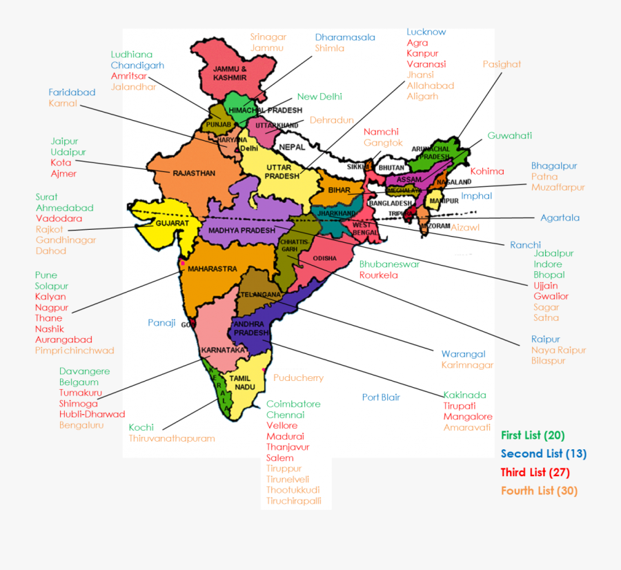 Transparent India Map Png - Marked Political Map Of India, Transparent Clipart