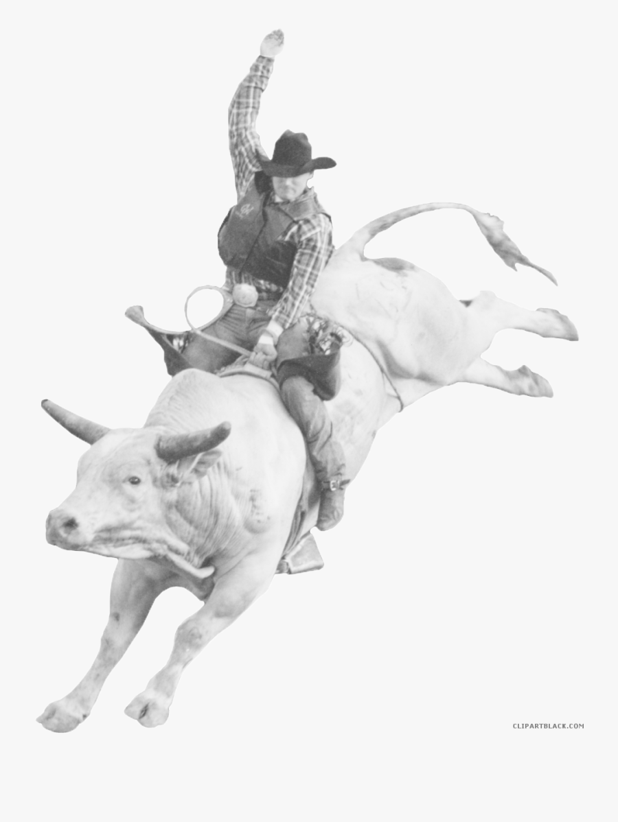 Rodeo Bull Clipart - Man Riding A Bull, Transparent Clipart