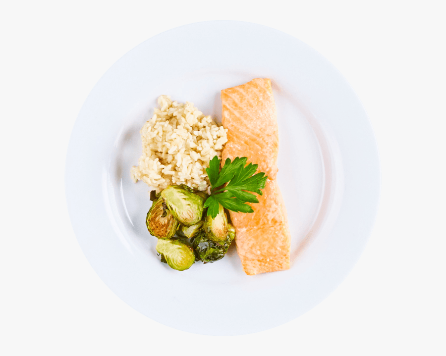 Plate Salmon Wild Rice And Brussel Sprouts, Transparent Clipart