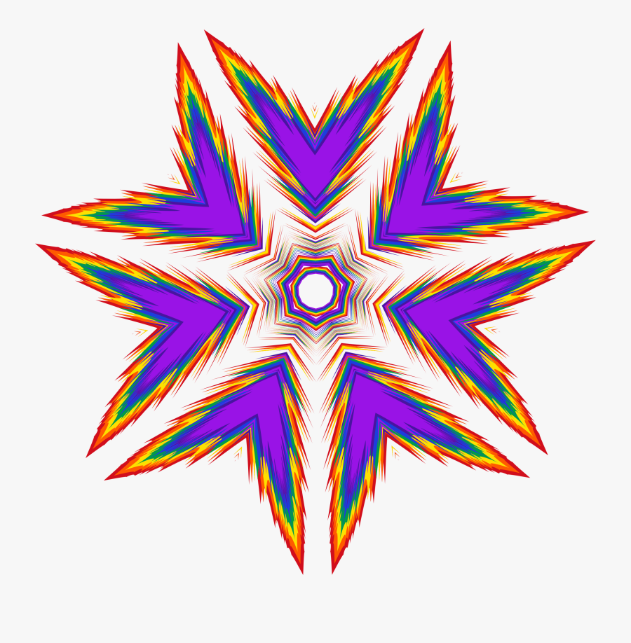 Sharp Rainbow Star Clip Arts - Fractal Art, Transparent Clipart
