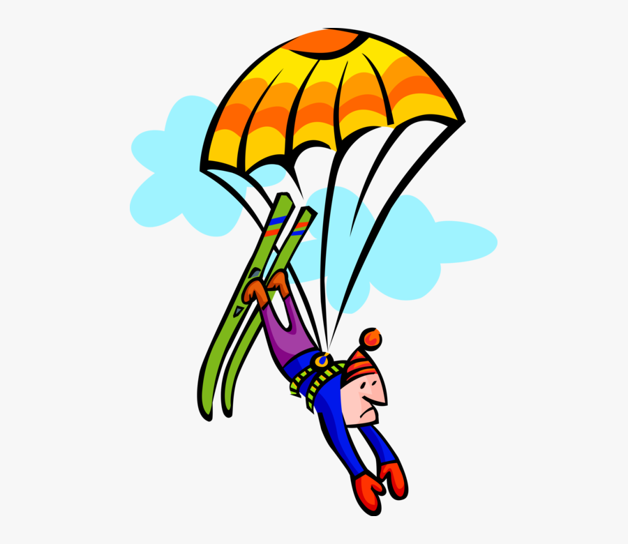 Skier On With Parachute - Extreme Sports Clipart, Transparent Clipart
