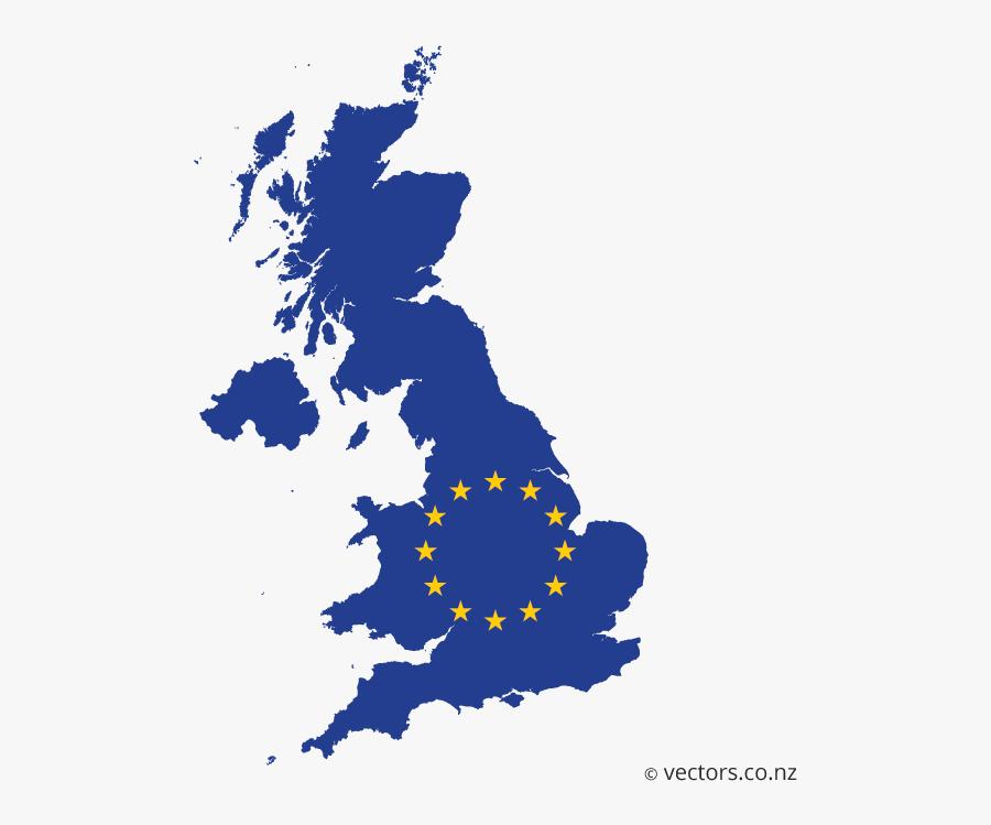 Eu Flag Vector Map Of The United Kingdom - United Kingdom Map Vector Free, Transparent Clipart