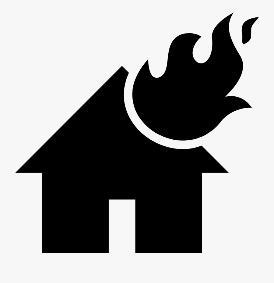 Png File Svg - House On Fire Silhouette, Transparent Clipart