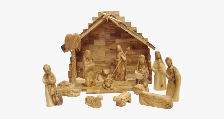 Homemade Wooden Nativity Scenes, Transparent Clipart
