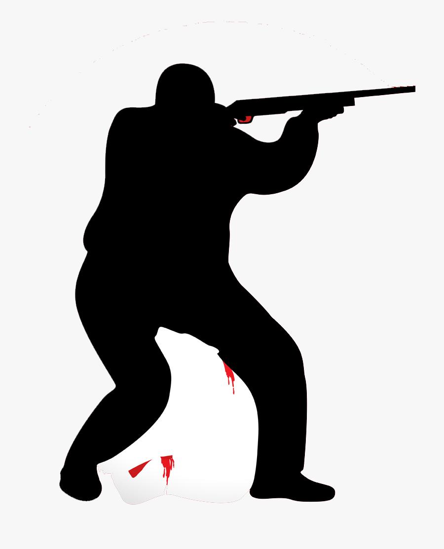 Cartoon Hunting Black And White Illustration - Hunter Cartoon Png, Transparent Clipart