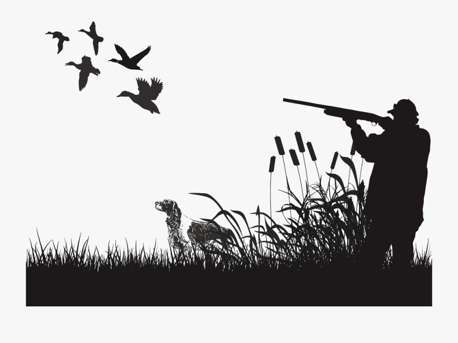 Duck Hunting Silhouette - Duck Hunting Black And White, Transparent Clipart