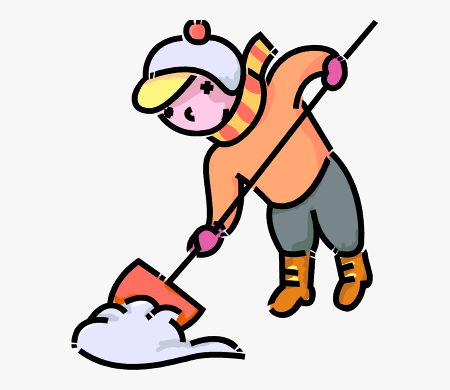 Girl Shovels Snow After - Girl Shoveling Snow Clipart, Transparent Clipart