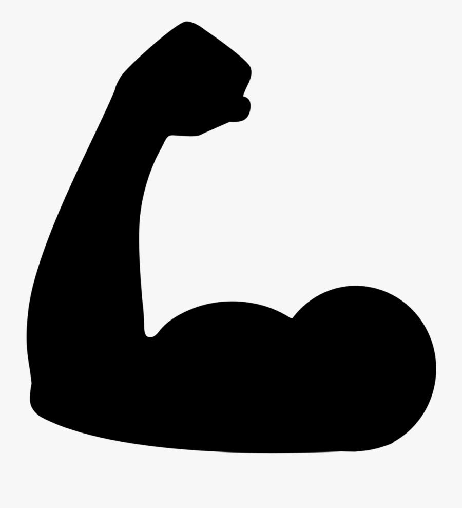 Muscle Emoji Black Png, Transparent Clipart