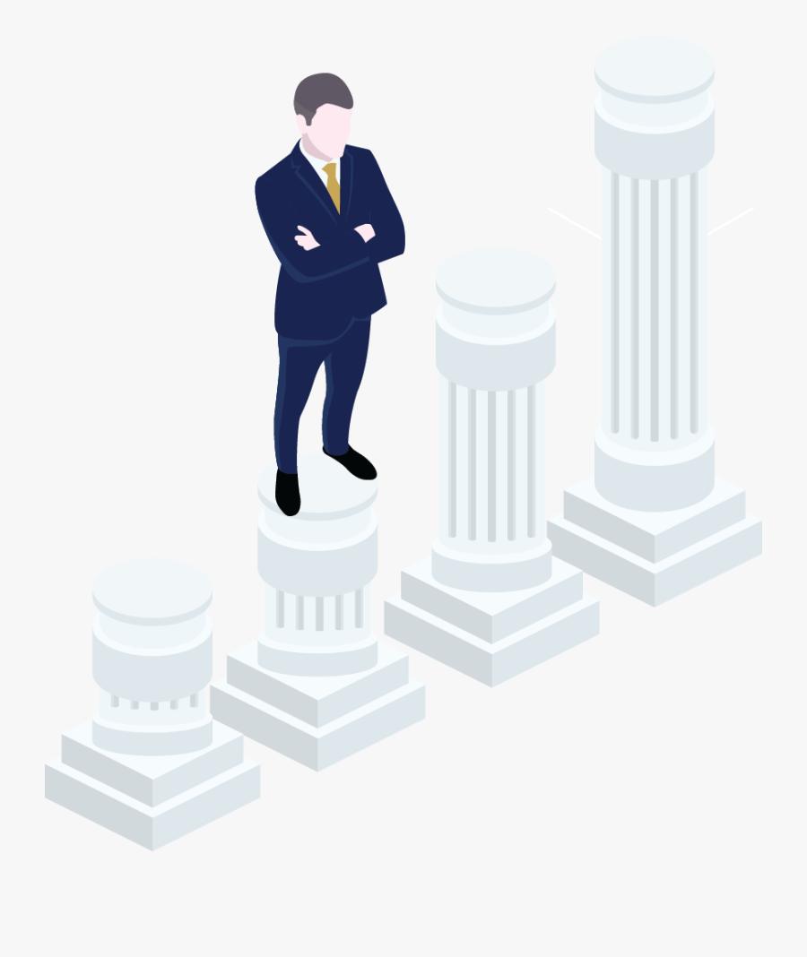 Man Standing On Pillar, Transparent Clipart