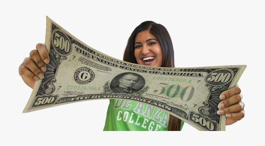 Student Stretching $500 Bill - 500 Dollar Bill, Transparent Clipart